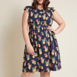 Modcloth E&F Day After Day A-Line Dress in Cactus